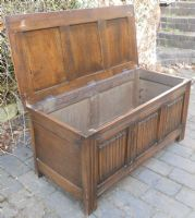 Antique Style Carved Front Panelled Blanket Box